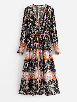 Single-Breasted Long Sleeve Printed Maxi Dresses
