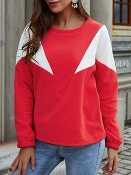Crew Neck Contrast Color Long Sleeve Sweatshirt