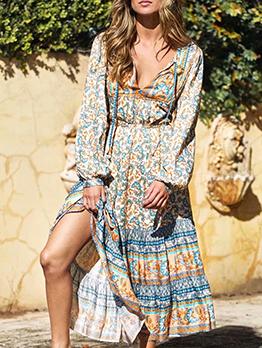 Retro Printed Beach Long Sleeve Midi Dress