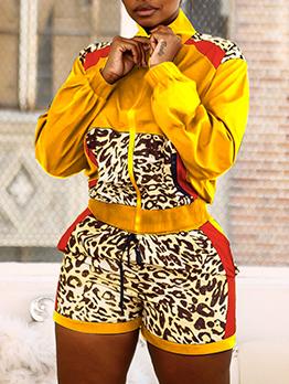 Stand Collar Leopard Patchwork 2 Piece Short Set