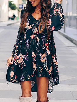 V Neck Low-High Printed Long Sleeve Dress