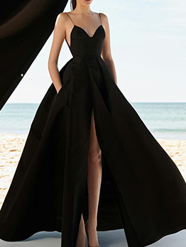 Deep V Neck Split Hem Black Evening Dress