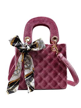Velvet Rhombus Silk Scarf Decor Shoulder Bag With Handle