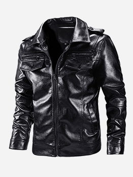 Turn-Down Collar Pu Black Motorcycle Jackets