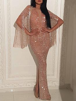 Deep V Neck Tassel Glitter Split Hem Evening Dress