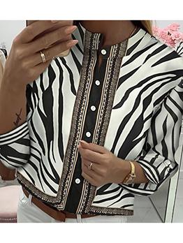 Printed Stand Collar Long Sleeve Chiffon Blouse