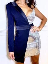 Irregular Patchwork Long Sleeve Sequin Dress