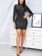 Simple Solid Black Long Sleeve Bodycon Dress