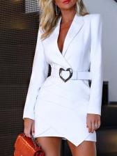 OL Style Solid Long Sleeve Dress