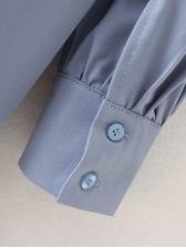 Single-Breasted Blue Long Sleeve Shirt Dress