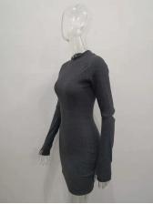 Mock Neck Hollow Out Slim Long Sleeve Short Dress