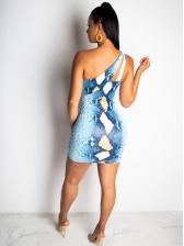 Fashion Snakeskin Cut Out Sleeveless Sheath Dress
