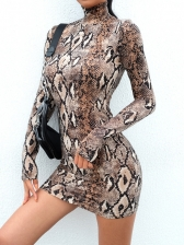 Mock Neck Snake Printed Long Sleeve Short Dress
