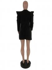 V Neck Button Up Puff Sleeve Black Blazer Dress