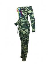 Camouflage Lip Printed Drawstring Off The Shoulder Jumpsuit