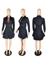 Bow Decor Long Sleeve Denim Shirt Dress For Women