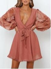 Lace Gauze Patchwork Lace Up Ladies Dress