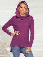 Minimalist Solid High Low Hem Hooded Collar T Shirt