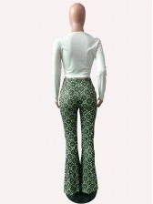 Lip Printed Fitted Flare Trouser Co Ord