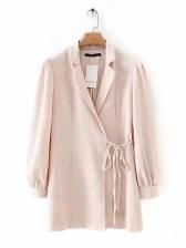 Lapel Collar Tie-Wrap Long Sleeve Pink Blazer
