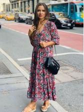 Vintage v Neck Long Sleeve Floral Dress