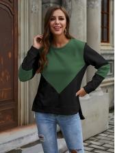 Winter Contrast Color Crew Neck Sweatshirt