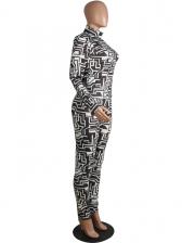 High Neck Printed Long Sleeve 2 Piece Pants Set
