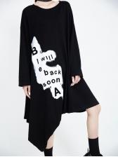 Loose Irregular Contrast Color Long Sleeve Dress