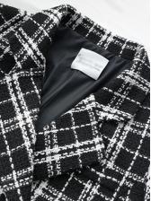 Ol Style Straight Design Tweed Plaid Long Coat
