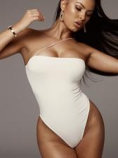 Single Spaghetti Strap Solid Ladies Bodysuit