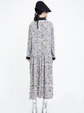 Loose Turn-Down Collar Floral Women Midi Dress