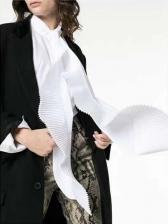Chic Pleated Irregular Long Sleeve Blouse