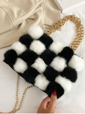 Cute Contrast Color Plush Ball Chain Crossbody Bag