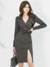 Ol Style Tie-Wrap Long Sleeve Blazer Dress
