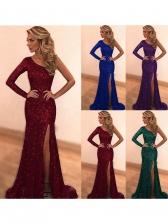 One Shoulder Split Hem Sequin Evening Gown