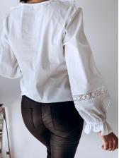 Lace Patchwork Stringy Selvedge Hollow Ladies Blouse