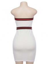 Sexy Off Shoulder Colorblock Tie-wrap Dress