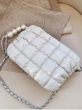 Pearls Pendant Raised Plaid Chain Crossbody Bags