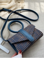 Round Handle Tweed Woven Small Rectangle Bag