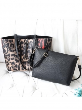 Ol Style Leopard Print Two Piece Large Tote Bags