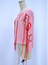 Sweet Heart Ribbon Loose Crew Neck Sweater