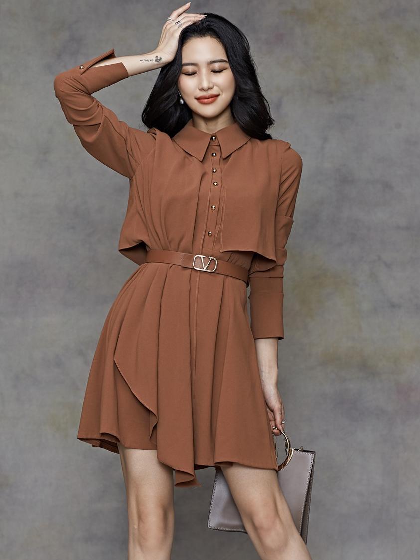 OL Style Solid Ruffed Shirt Dress