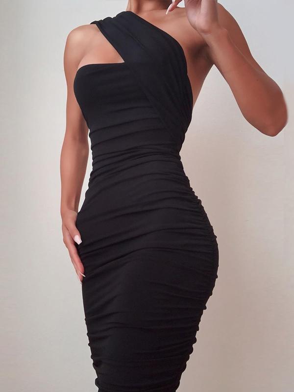 One Shoulder Ruched Sleeveless Sheath Dress