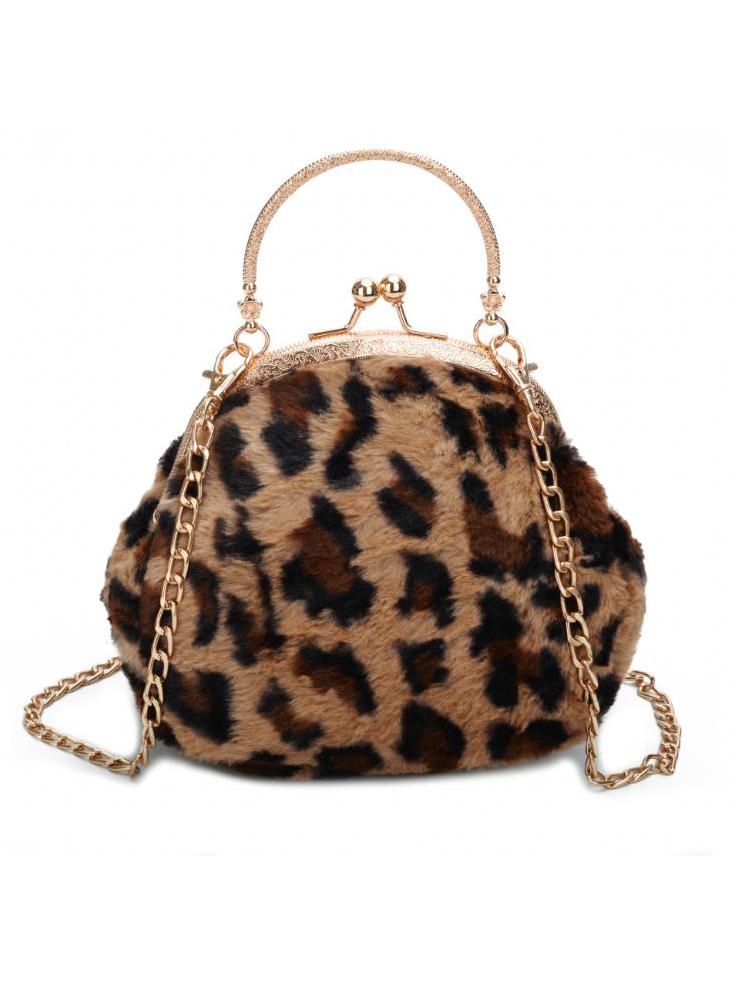 Stylish Plush Leopard Printed Chain Crossbody Bags