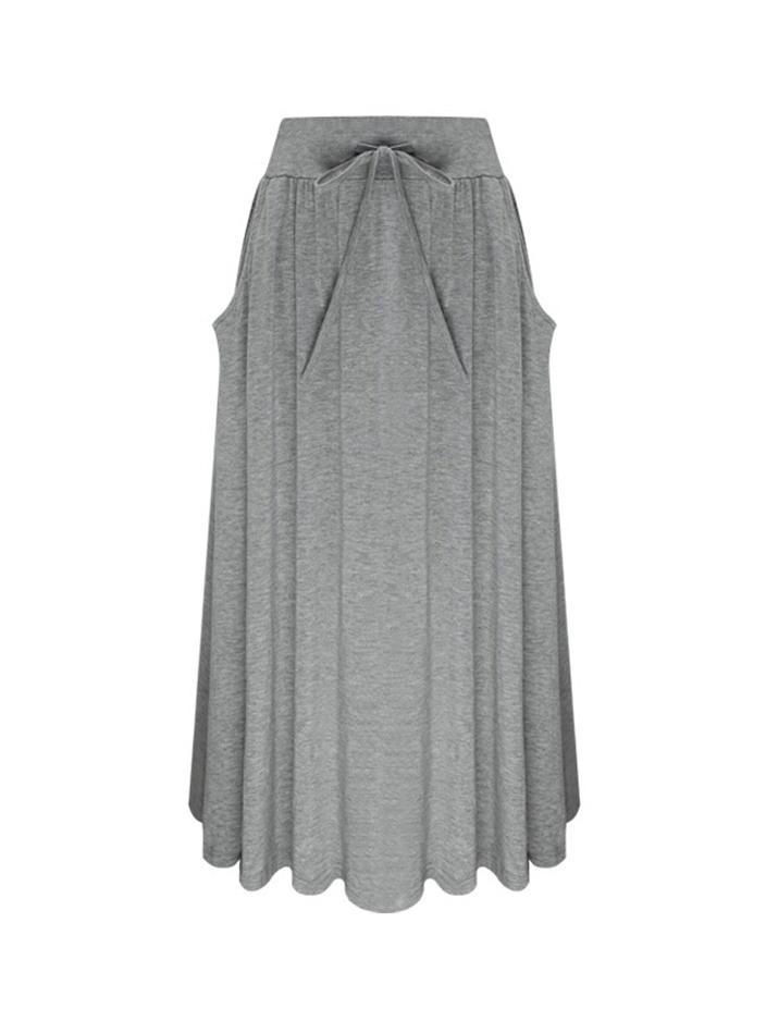 Solid High Waist Pocket Midi Skirt