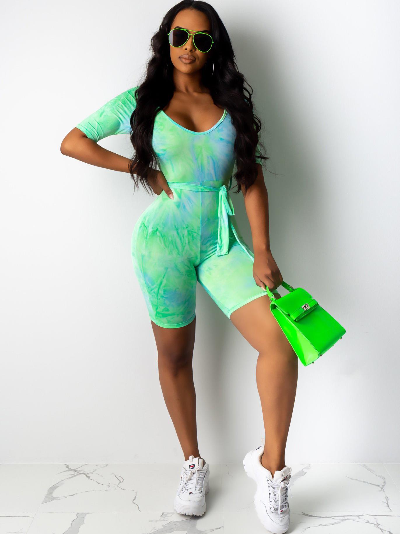 Sport Tie Dye Rompers For Women
