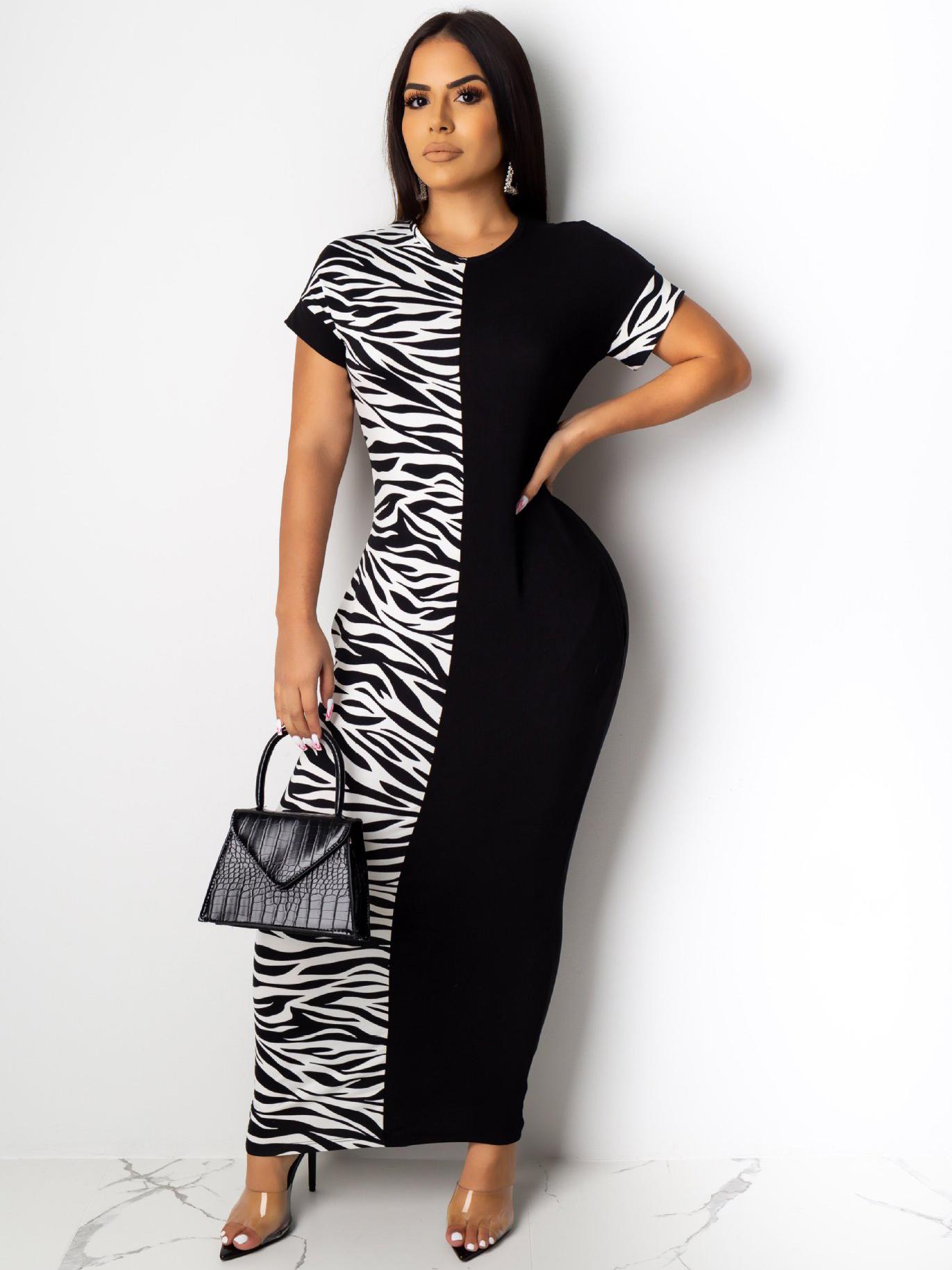 Zebra Printed Contrast Color Short Sleeve Maxi Dress