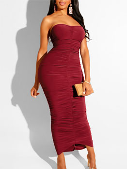 Strapless Solid Pleated Bodycon Maxi Dress