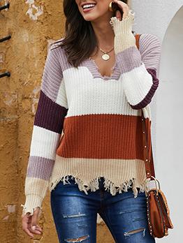 Contrast Color Bristles Tassel Ladies Sweater