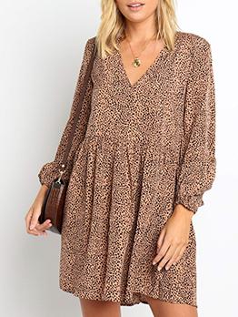 Leisure Long Sleeve Leopard Ladies Dress